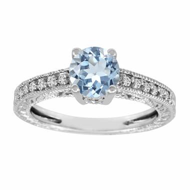 Aquamarine & Diamond Engagement Ring 1.00 Carat 14K White Gold Vintage Antique Style Engraved HandMade