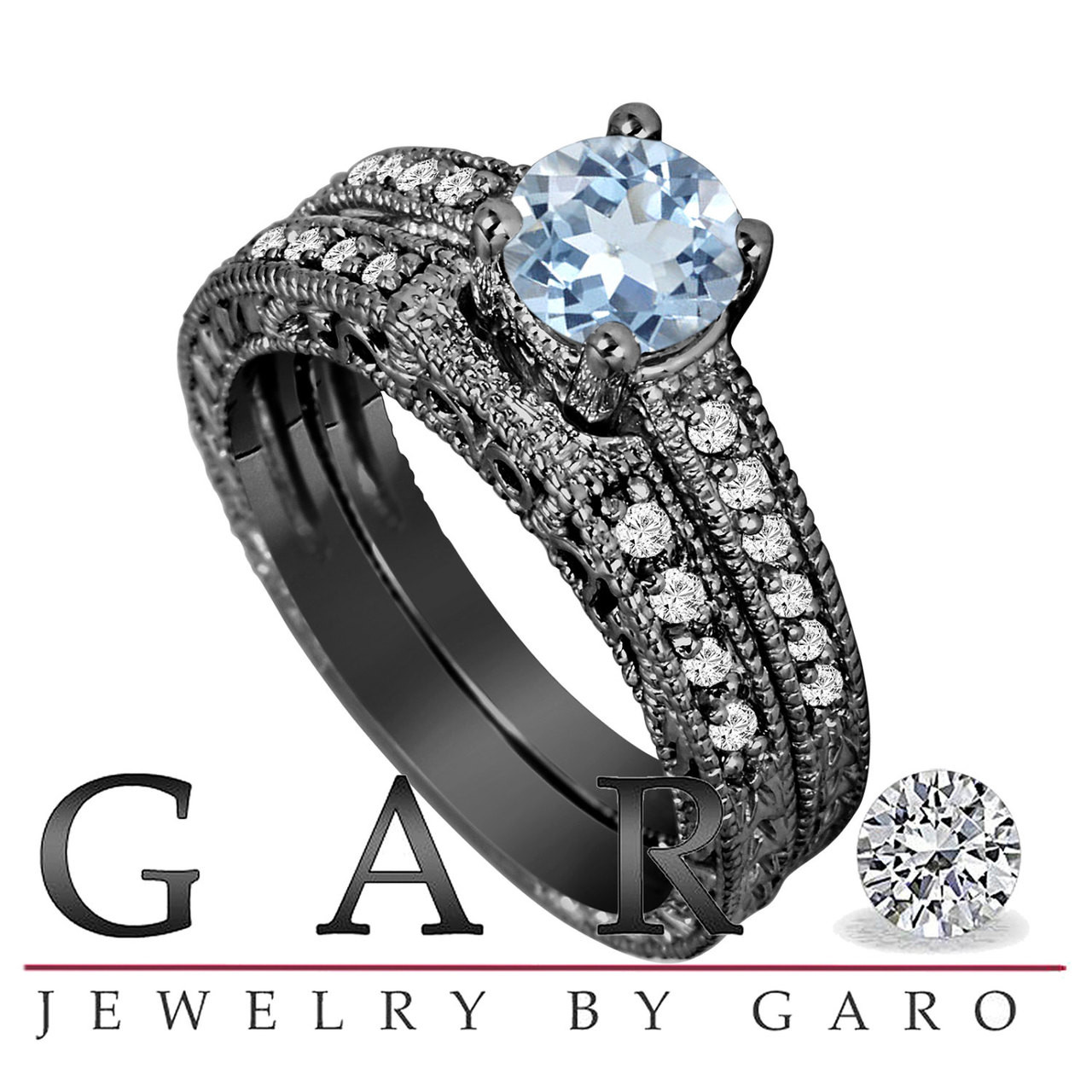 0cd737830 ... Engagement Ring And Wedding Anniversary Diamond Band Sets Vintage Style  14K Black Gold 1.14 Carat HandMade. Price: $1,600.00. Image 1. Larger /  More ...