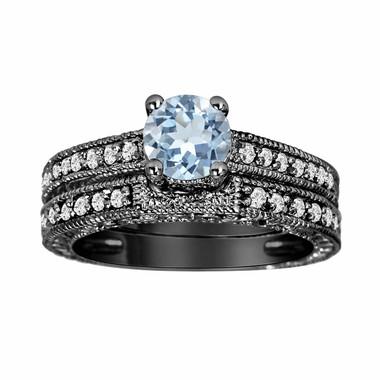 Aquamarine & Diamond Engagement Ring And Wedding Anniversary Diamond Band Sets Vintage Style 14K Black Gold 1.14 Carat HandMade