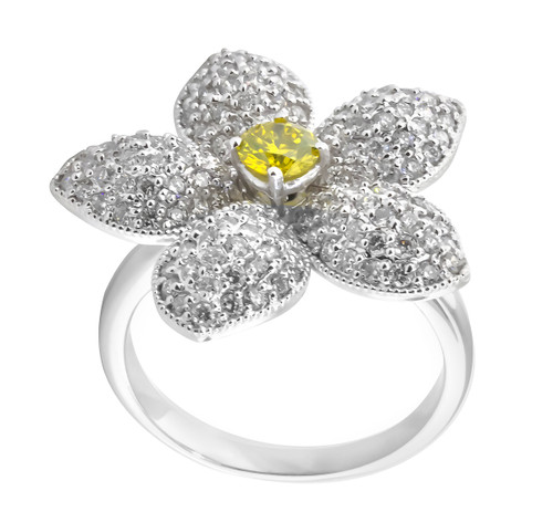 Fancy Yellow & White Diamonds Flower Engagement Ring 2.05 Carat 14K White Gold HandMade Ful Pave Set Unique Ring