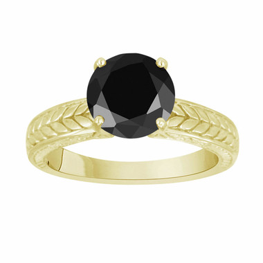 18k Yellow Gold 2.00 Carat Fancy Black Diamond Solitaire Engagement Ring HandMade Vintage Antique Style Engraved