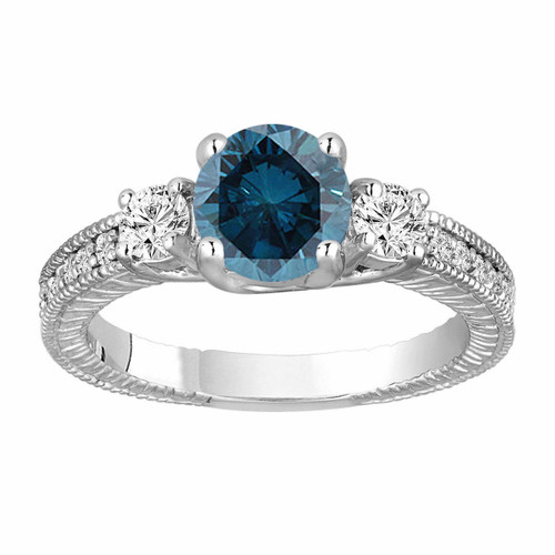 Blue Diamond Engagement Ring 1.38 Carat 14K White Gold Vintage Antique Style Engraved Handmade