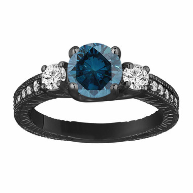 Blue  Diamond Three Stone Engagement Ring 1.38 Carat Vintage Style 14K Black Gold Antique Style Engraved Handmade
