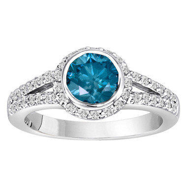 Platinum Blue Diamond Engagement Ring, Halo Bridal Ring,  Certified 1.44 Carat Handmade Low Bezel Set