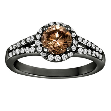 Champagne Diamond Halo Engagement Ring 1.35 Carat Vintage Style 14K Black Gold Hand Made