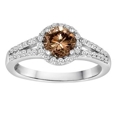 Natural Champagne Diamond Engagement Ring 1.35 Carat 14K White Gold Halo Handmade