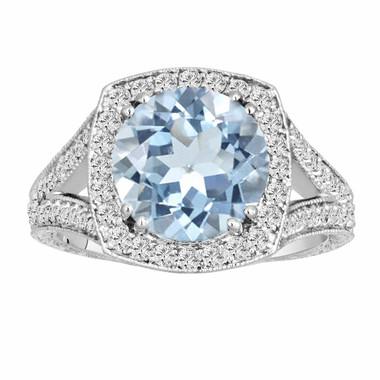 Aquamarine & Diamonds Engagement Ring 14K White Gold 2.90 Carat Vintage Style Engraved Ring Pave Set HandMade Certified