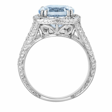 Platinum Aquamarine & Diamond Engagement Ring 2.90 Carat Vintage Style Engraved Ring Pave Set HandMade Certified