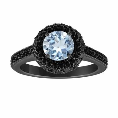 Aquamarine & Fancy Black Diamond Engagement Ring Vintage Style 14K Black Gold 1.70 Carat Halo Pave Set HandMade Certified Unique
