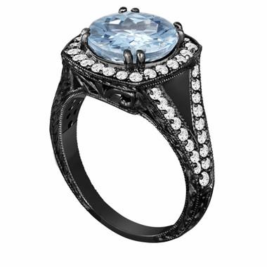 Aquamarine & Diamonds Engagement Ring Vintage Style 14K Black Gold 2.90 Carat Engraved Ring Pave Set HandMade Certified