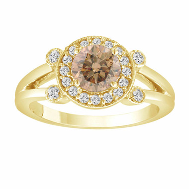 Natural Champagne & White Diamond Engagement Ring 14k Yellow Gold 1.03 Carat Unique Halo Certified handmade
