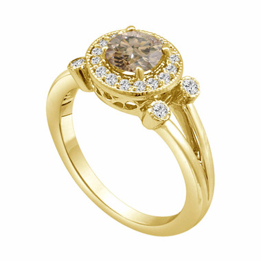 18k Yellow Gold Natural Champagne & White Diamond Engagement Ring 1.03 Carat Unique Halo Certified handmade