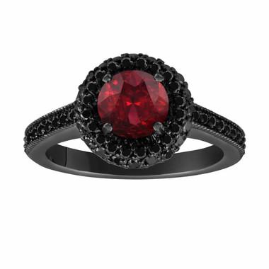Red Garnet & Fancy Black Diamond Engagement Ring Vintage Style 14K Black Gold 1.76 Carat Halo Pave Set HandMade Certified Unique