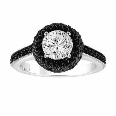 Diamond Engagement Ring Fancy Black & White Diamond Engagement Ring 14K White Gold 1.71 Carat Halo Pave Set HandMade Certified Unique