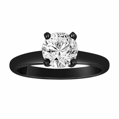 0.66 Carat Solitaire Diamond Engagement Ring Vintage Style 14K Black Gold Certified handmade
