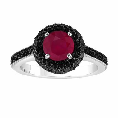 Ruby & Fancy Black Diamond Engagement Ring 14K White Gold 1.80 Carat Halo Pave Set HandMade Certified Unique