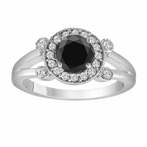 1.03 Carat Fancy Black & White Diamond Engagement Ring 14k White Gold Unique Halo Certified Handmade