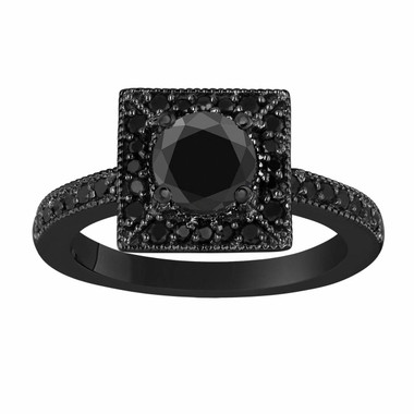 Black Diamond Engagement Ring 1.42 Carat Vintage Style 14K Black Gold Halo Handmade