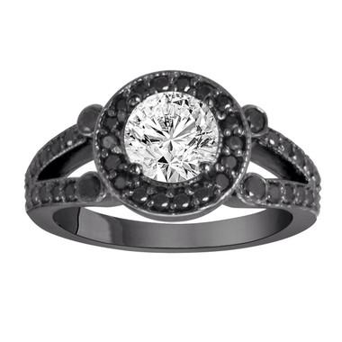 1.54 Carat White Diamond & Black Diamond Engagement Ring Vintage Style 14k Black Gold Unique Halo HandMade