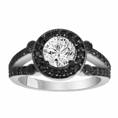 Diamond Engagement Ring 1.54 Carat White & Black Diamond Engagement Ring 14k White Gold Certified Unique Halo HandMade