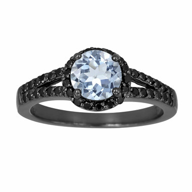 Aquamarine & Fancy Black Diamond Engagement Ring Vintage Style 14K Black Gold 1.26 Carat Halo Pave Set HandMade Certified Unique