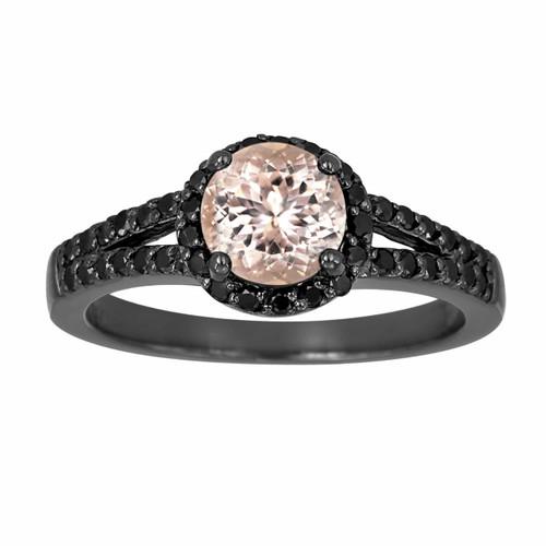 Morganite & Black Diamond Engagement Ring 1.30 Carat Vintage Style 14K Black Gold Halo Handmade