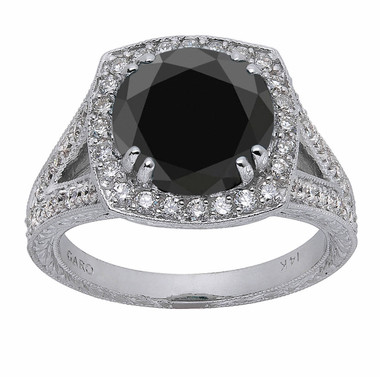 Black Diamond Hand Engraved Engagement Ring Antique Vintage Style Filigree 4.02 Carat 14k White Gold Halo Pave Handmade Unique