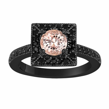 Morganite & Fancy Black Diamonds Engagement Ring 1.25 Carat Vintage Style 14K Black Gold Halo Handmade