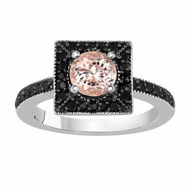Morganite & Fancy Black Diamonds Engagement Ring 1.25 Carat 14K White Gold Halo Handmade