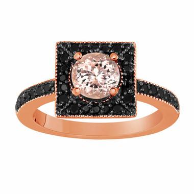 Morganite & Fancy Black Diamonds Engagement Ring 1.27 Carat 14K Rose Gold Halo Handmade