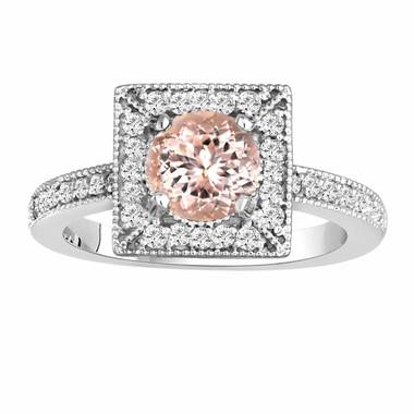 Morganite & Diamonds Engagement Ring 1.23 Carat 14K White Gold Halo Handmade