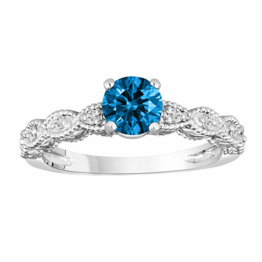 0.79 Carat 14K White Gold Blue & White Diamond Engagement Ring Vintage Style Engraved Handmade Certified