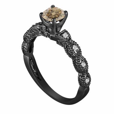 Champagne & White Diamond Engagement Ring 0.65 Carat Vintage Style Engraved 14K Black Gold Handmade