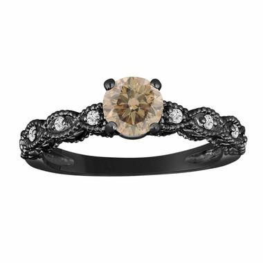 Champagne & White Diamond Engagement Ring 0.70 Carat Vintage Style Engraved 14K Black Gold Handmade