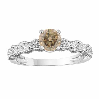 14K White Gold Champagne & White Diamond Engagement Ring 0.65 Carat Vintage Style Engraved Handmade