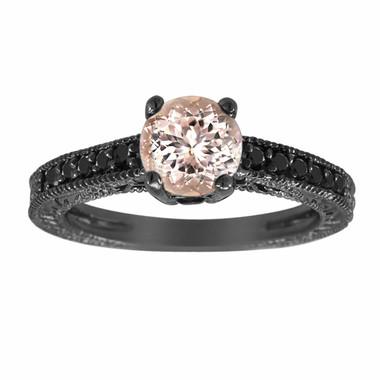 Peach Morganite & Black Diamonds Engagement Ring Vintage Style 14K Black Gold 0.75 Carat Pave Set Birthstone Antique Style Engraved Handmade