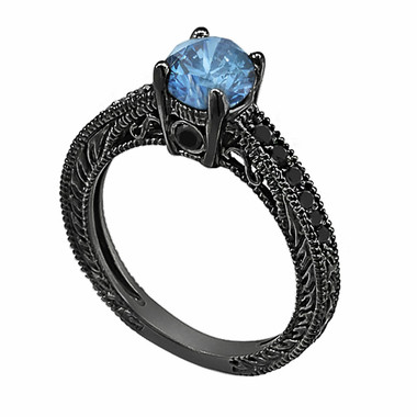Fancy Blue & Black Diamonds Engagement Ring Vintage Style 14K Black Gold 0.75 Carat Pave Set Birthstone Antique Style Engraved Handmade