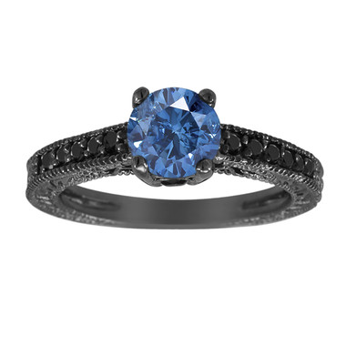 Fancy Blue And Black Diamonds Engagement Ring 14K Black Gold Vintage Style 1.05 Carat Pave Set Antique Style Engraved Handmade