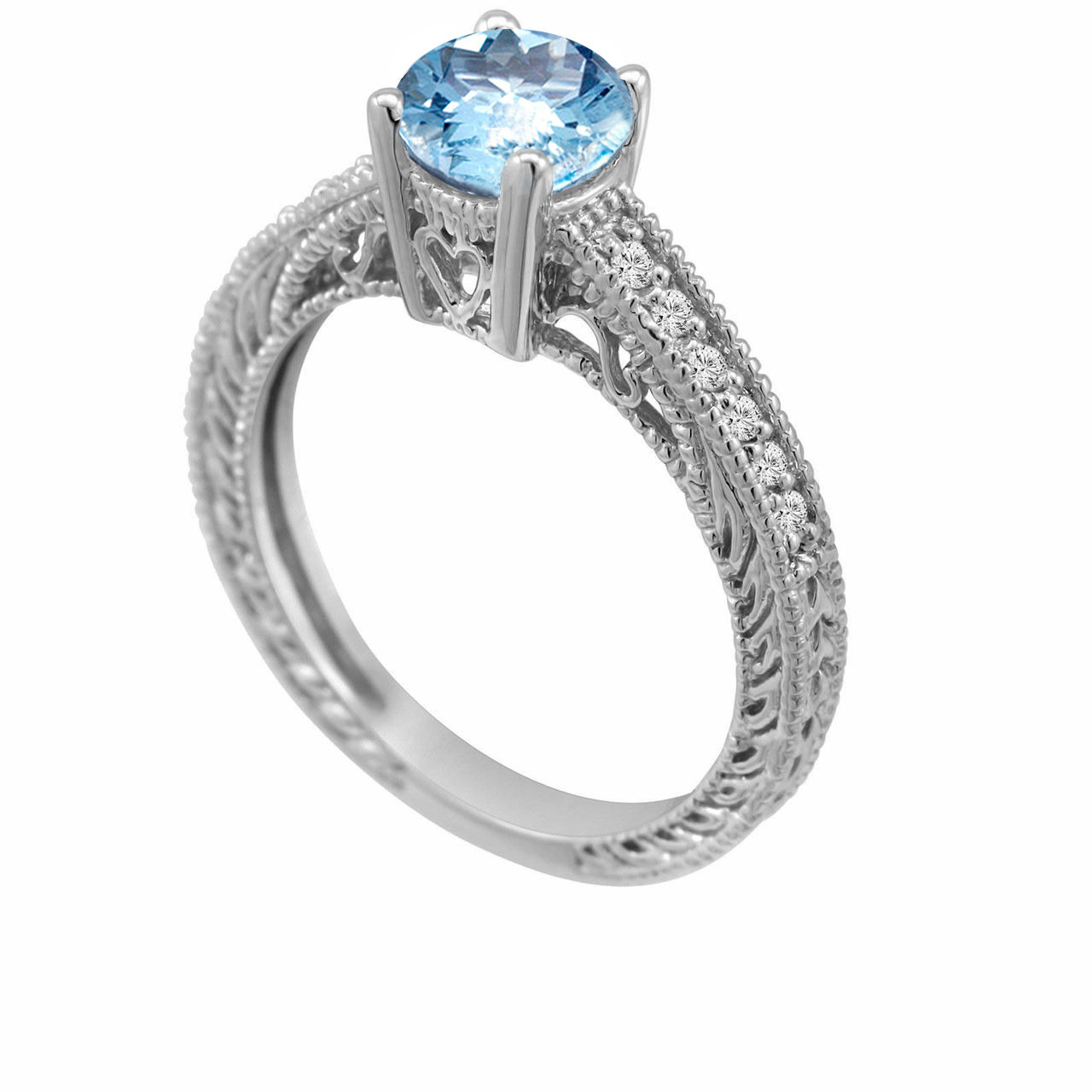 Handcrafted In The Usa: Vintage Aquamarine Wedding Ring At Websimilar.org