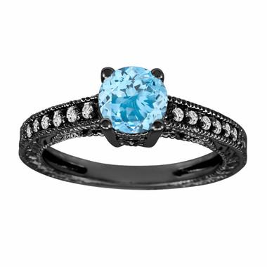 Aquamarine & Diamond Engagement Ring Vintage Style 14K Black Gold 0.65 CaratAntique Style Engraved HandMade