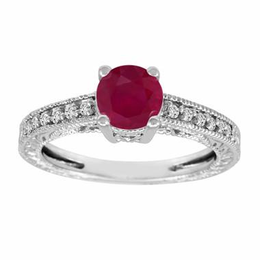 Certified 0.74 Carat Ruby & Diamonds Engagement Ring Vintage Style 14k White Gold HandMade