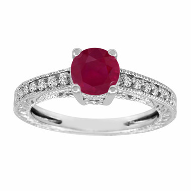 Ruby Engagement Ring 14k White Gold 1.14 Carat Vintage Style Certified Handmade