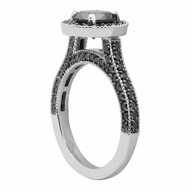 2.00 Carat Fancy Black Diamonds Engagement Ring 14k White Gold Halo Certified HandMade Pave Set
