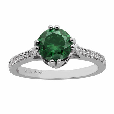 1.38 Carat Fancy Green & White Diamonds Engagement Ring 14K White Gold HandMade Unique Ring Pave Set Certified