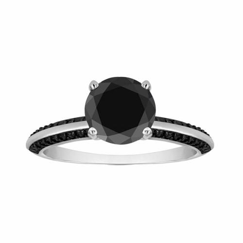 Fancy Black Diamond Engagement Ring 1.34 Carat 14K White Gold Micro Pave Set handmade