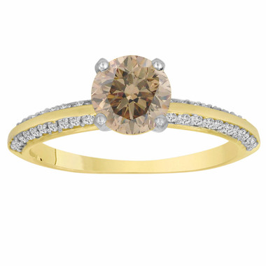 0.96 Carat Certified 14K Yellow Gold Champagne & White Diamond Engagement Ring Micro Pave HandMade Bridal Petite Ring