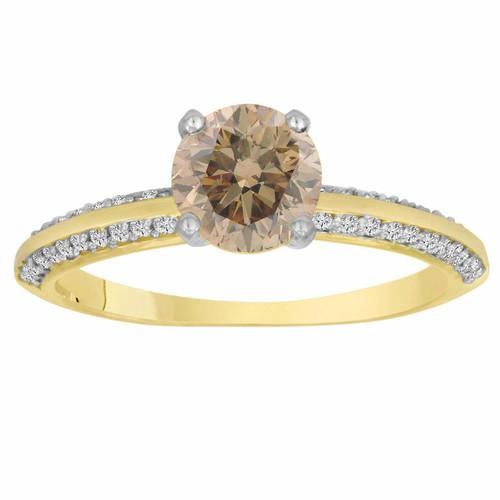 0.96 Carat Certified 14K Yellow Gold Champagne & White Diamond Engagement Ring Micro Pave HandMade Bridal Petite Ring