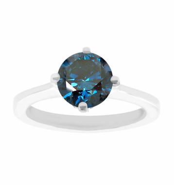 Fancy Blue Diamond Solitaire Engagement Ring 1.02 Carat 14K White Gold Gallery Design Ring Certified HandMade
