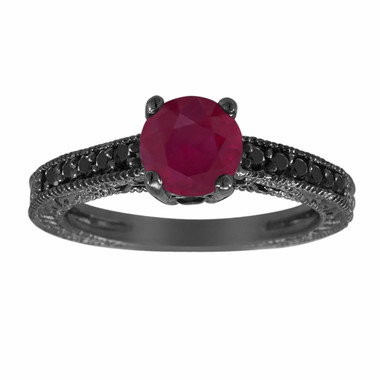 Ruby & Fancy Black Diamonds Engagement Ring Vintage Style 14K Black Gold 1.25 Carat Pave Set Birthstone Antique Style Engraved Handmade