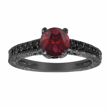 Garnet & Fancy Black Diamonds Engagement Ring Vintage Style 14K Black Gold 1.25 Carat Pave Set Birthstone Antique Style Engraved Handmade
